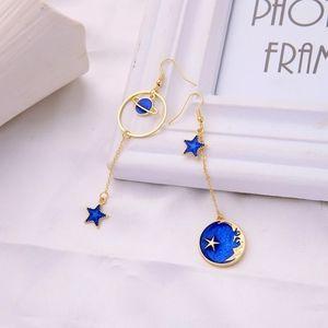 Star Drop Saturn Moon Asymmetrical Earrings
